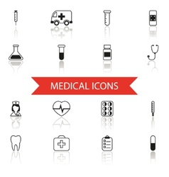 Simple Medical Icons and Symbols Set Isolated with vector image