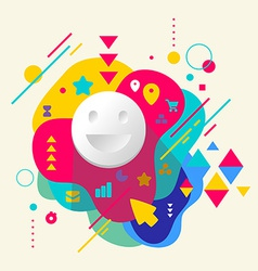 Smile on abstract colorful spotted background with vector image