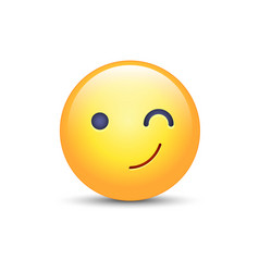 winking fun cartoon emoji face wink and smile vector image