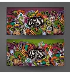 Cartoon colorful doodles design banners vector image