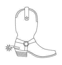 Wild west cowboy boot with spur contour vector