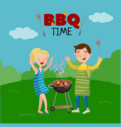 bbq time banner cartoon style poster with people vector image