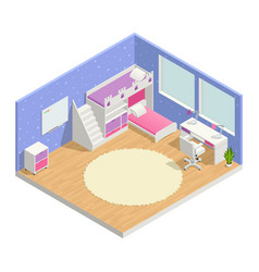children room isometric composition vector image vector image
