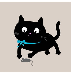 Cute cartoon black cat with mouse Funny animal vector image