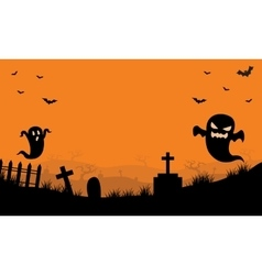 Halloween Ghost in tomb orange backgrounds vector image