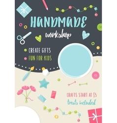 Handmade Tutorials and Workshops Banner Crafts vector image vector image