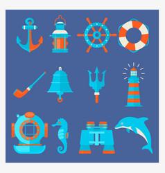 nautical elements in cartoon style marine vector image vector image
