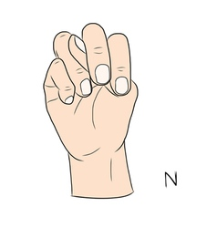 Sign language and the alphabetThe Letter n vector image vector image