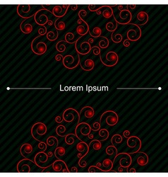 Up and down red curly pattern on card with lines vector