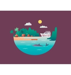 Yacht floats near the tropical shores vector image vector image