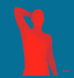 3d human body model man in a thinker pose vector