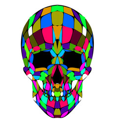 Abstract polygonal multicolor skull on a vector