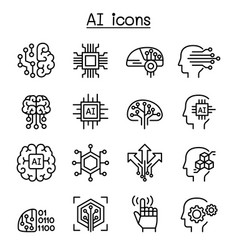 Ai artificial intelligence icon set in thin line vector