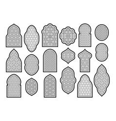 Arabic or islamic windows set vector