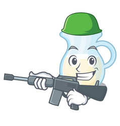 Army natural milk jug in a cartoon vector