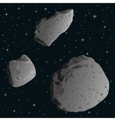 Asteroids in space vector