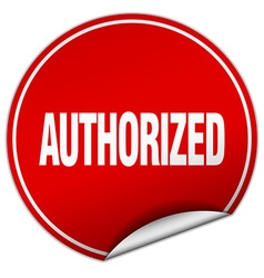 Authorized round red sticker isolated on white vector