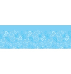 Baby boy blue horizontal seamless pattern vector image