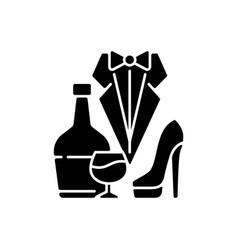 Bachelor party black glyph icon vector