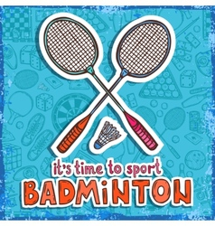 Badminton sketch background vector