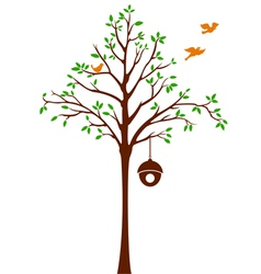 Birds leaving tree and cage vector
