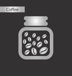 black and white style icon coffee jar beans vector image