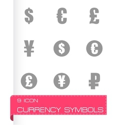 black currency symbols icons set vector image