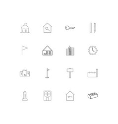 buildings and constructions simple linear icons vector image