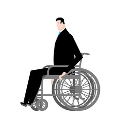 businessman in wheelchair boss is disabled vector image