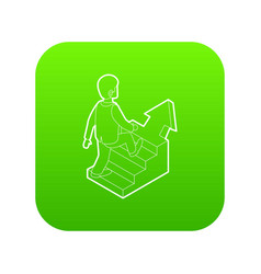 businessman running up career ladder icon green vector image
