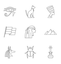 Cairo travel icons set outline style vector