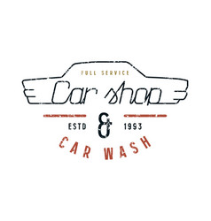 car shop and wash emblem vector image