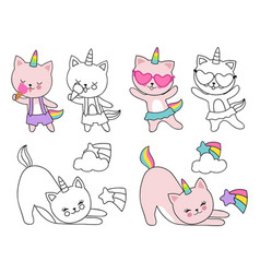 Cartoon character cats unicorn vector