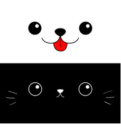 Cat dog eyes nose moustaches tongue cute cartoon vector