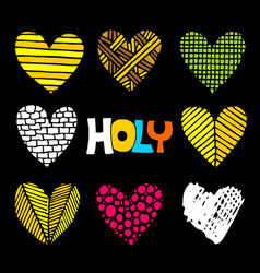 christian inscriptions and hearts drawn hand vector image