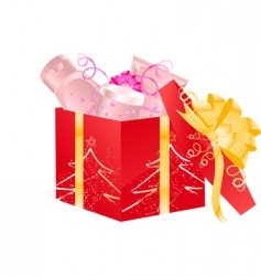 Christmas open gift vector