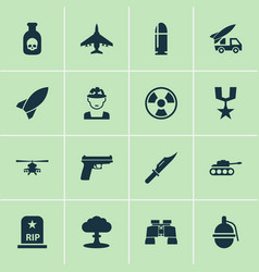 Combat icons set collection of order slug rip vector