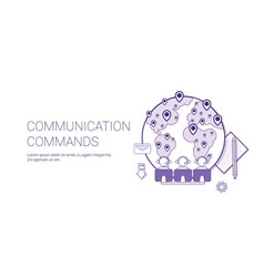 communication commands global network technology vector image