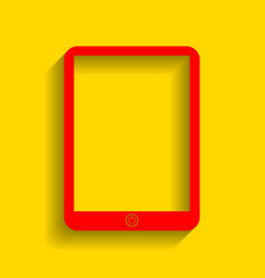 computer tablet sign red icon with soft vector image