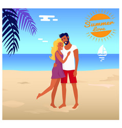 Couple stands and hugs on beach in palm shade vector
