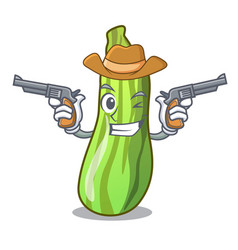 Cowboy character fresh zucchini vegetable in vector