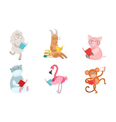 Cute humanized animals read different books vector