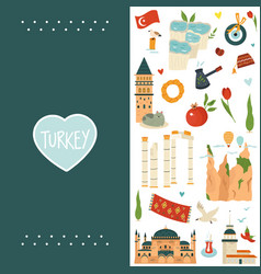 design template with famous landmarks turkey vector image