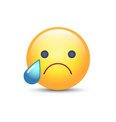 Disappointed emoji face crying cartoon smiley sad vector