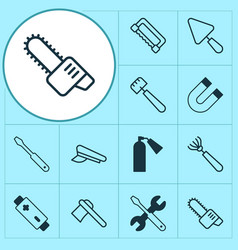 Equipment icons set with attraction putty harrow vector