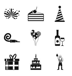 Festive food icons set simple style vector