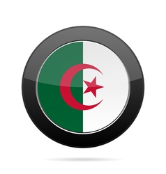 Flag of Algeria Shiny black round button vector