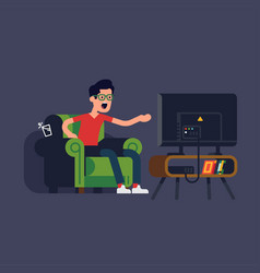 Flat design on man sitting in armchair watching vector