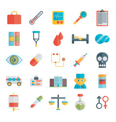 flat icons set of medical tools and healthcare vector image