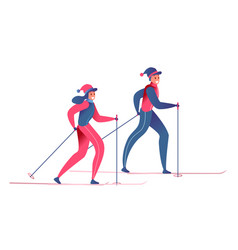 flat man and woman skiing outdoors vector image